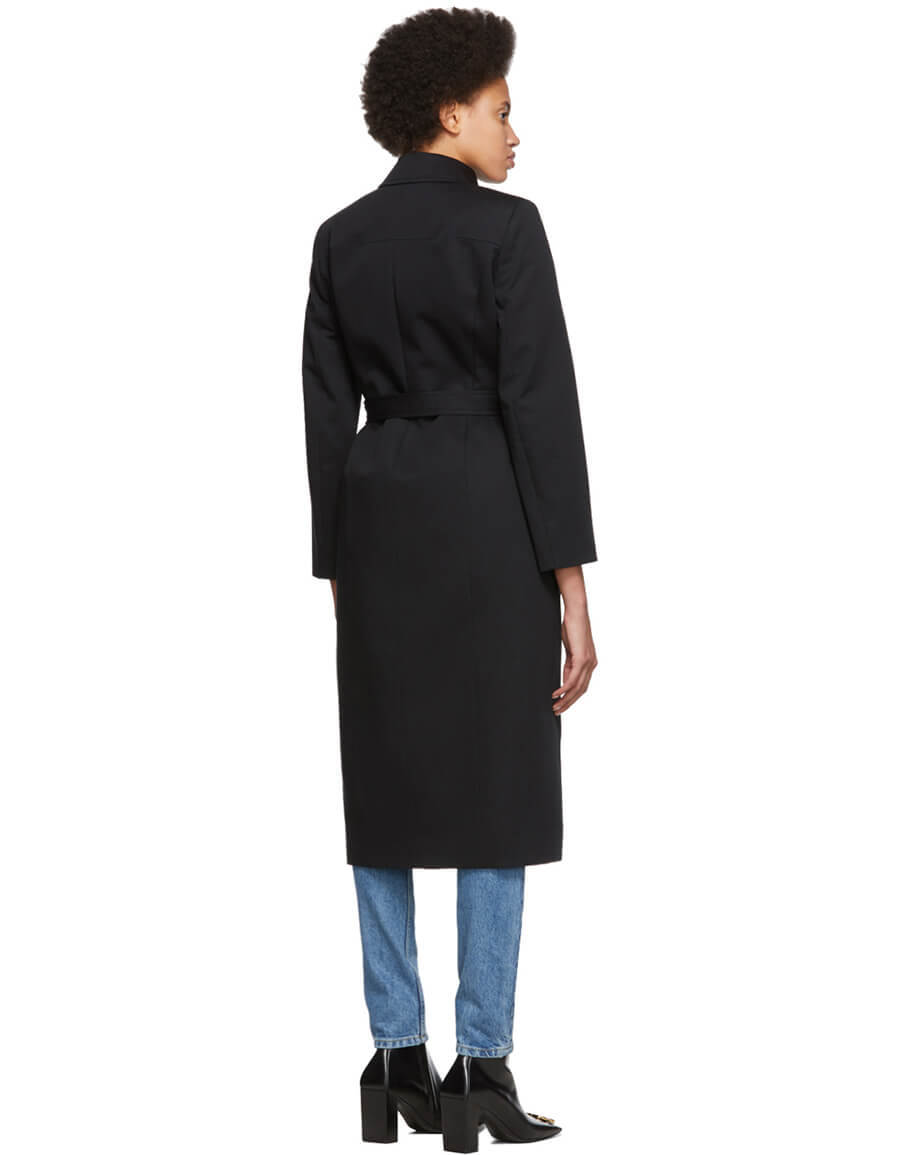 BALENCIAGA Black Cotton Twill Trench Coat