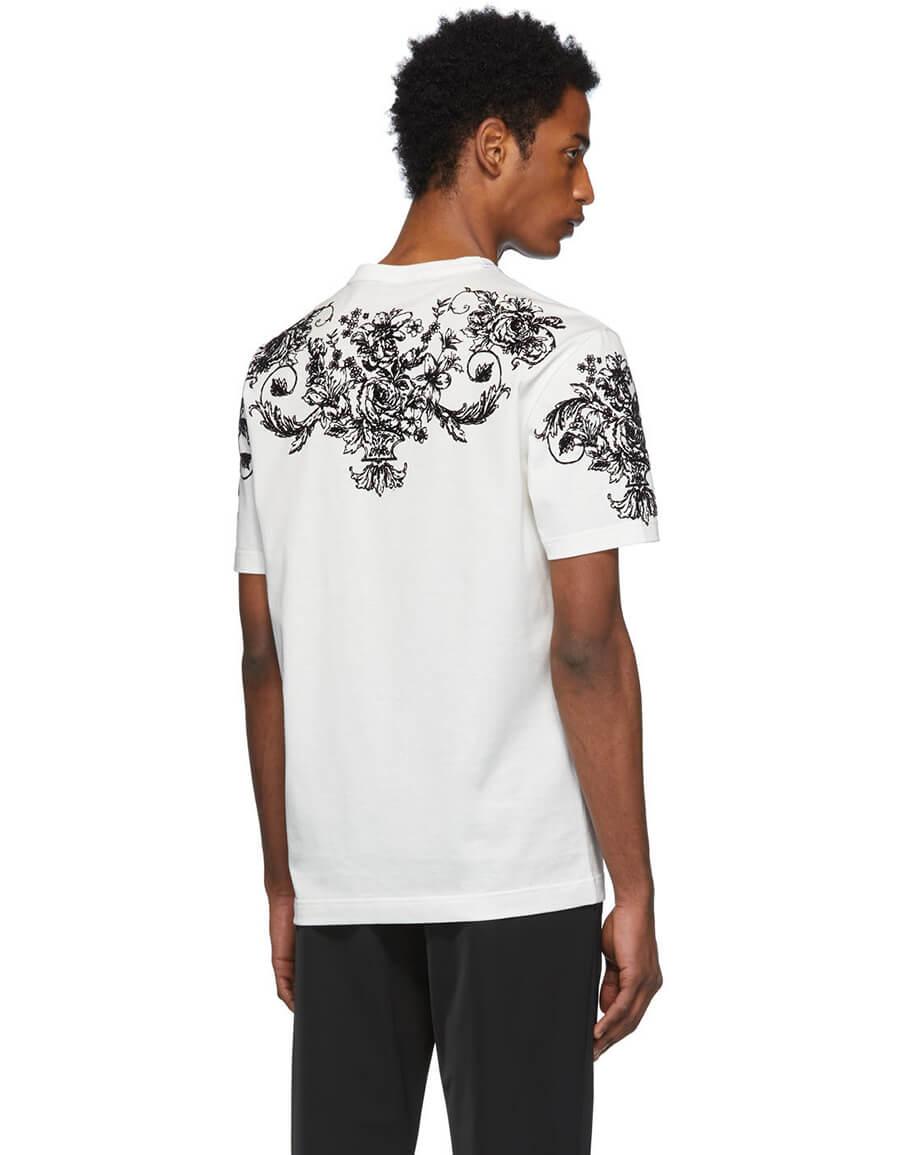 DOLCE & GABBANA White Logo Flocked T Shirt