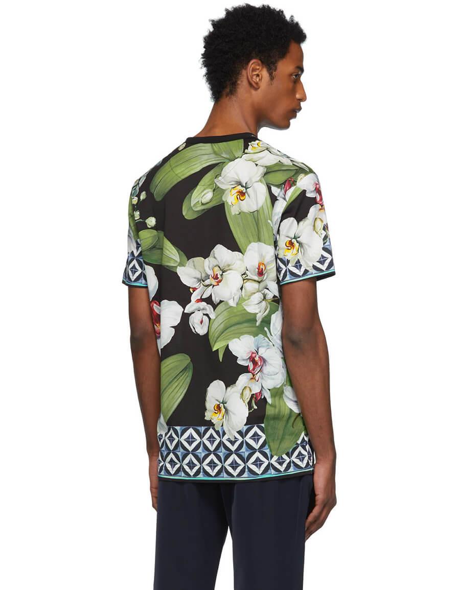 DOLCE & GABBANA Multicolor Orchid Print T Shirt