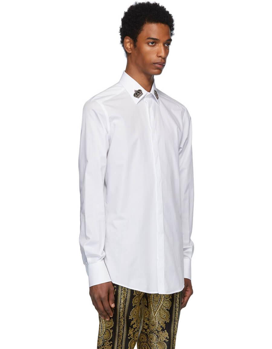DOLCE & GABBANA White Crown Collar Shirt