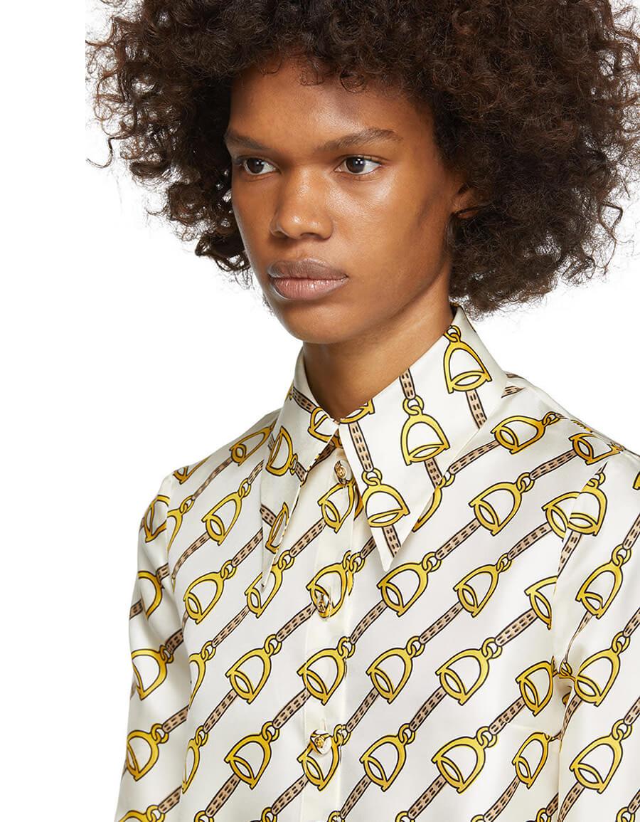 GUCCI Off White Chain Printed Silk Shirt