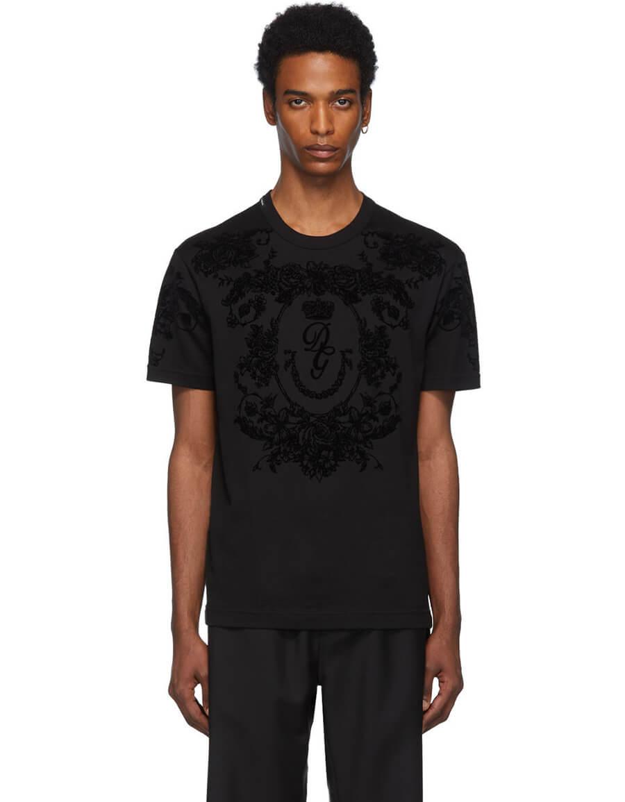 DOLCE & GABBANA Black Logo Flocked T Shirt