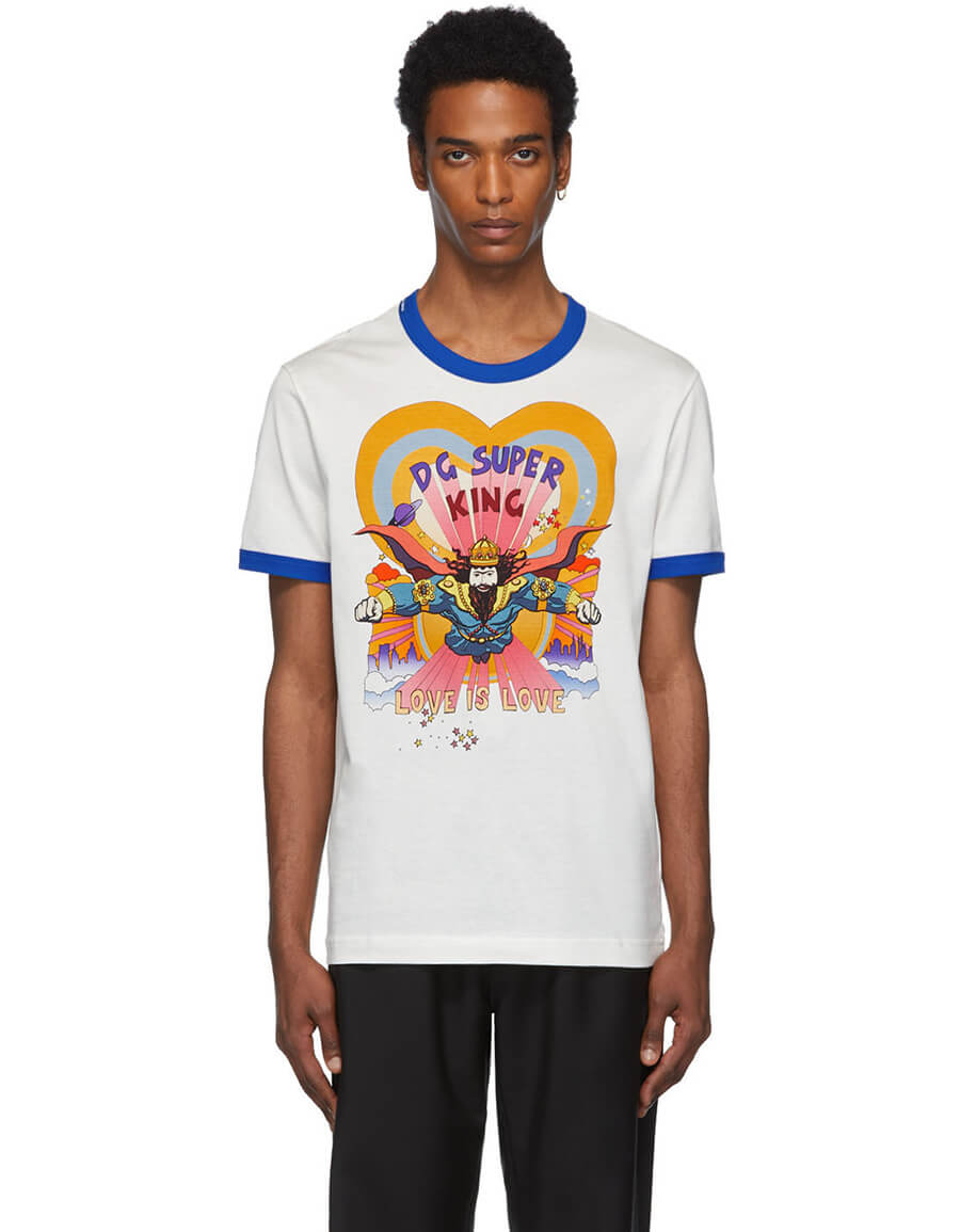 DOLCE & GABBANA Off White 'DG Super King' T Shirt