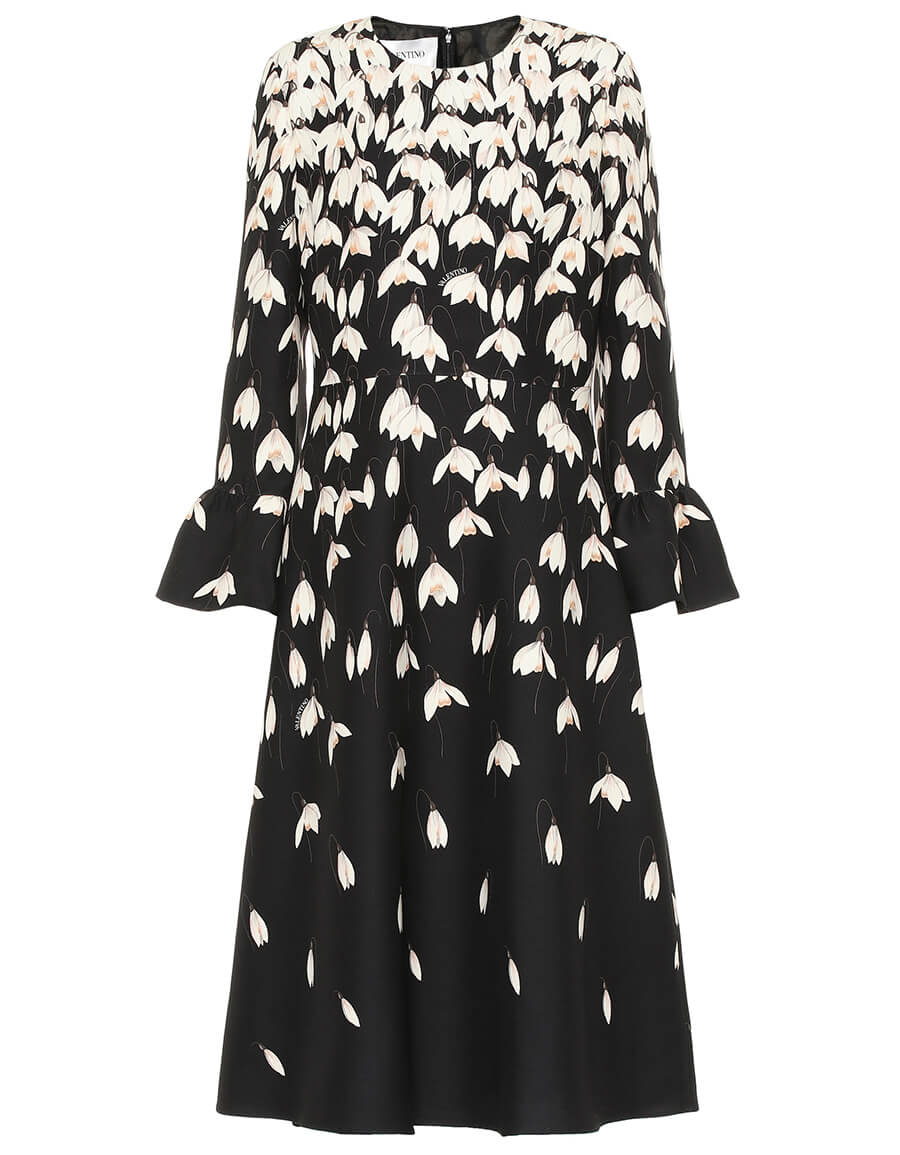 VALENTINO Floral wool and silk crêpe dress