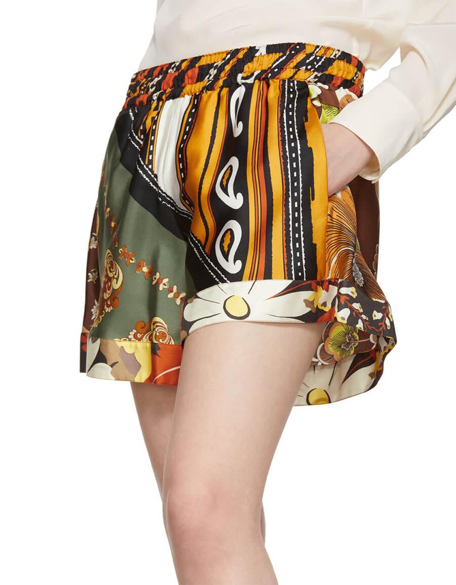 CHLOÉ Multicolor Silk Caravan Print Shorts