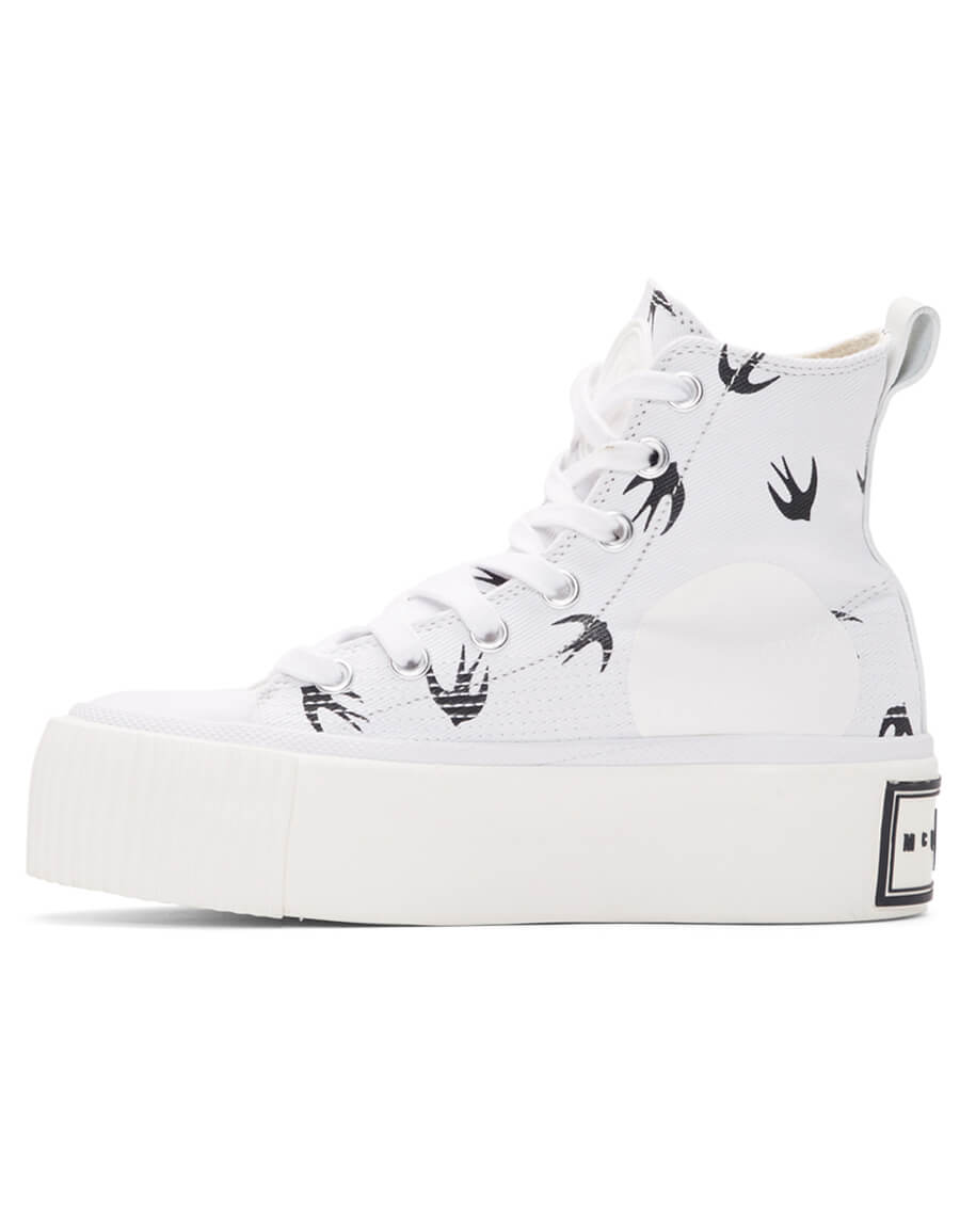 ALEXANDER MCQUEEN White Mini Swallow Platform Sneakers