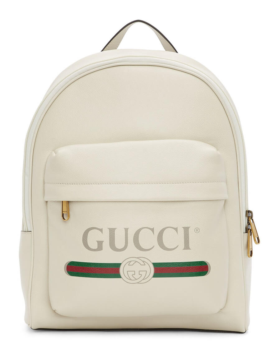 GUCCI White Print Backpack
