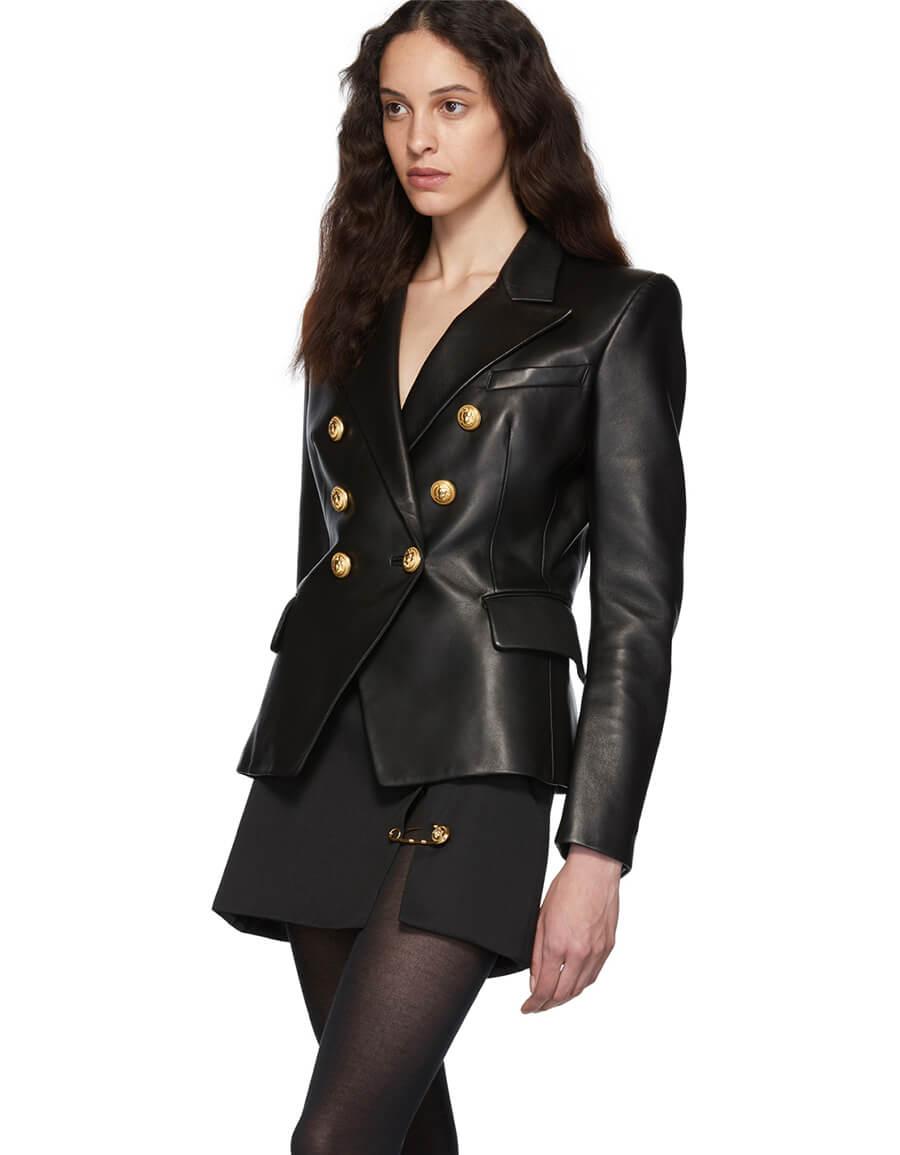 BALMAIN Black Leather Double Breasted Jacket
