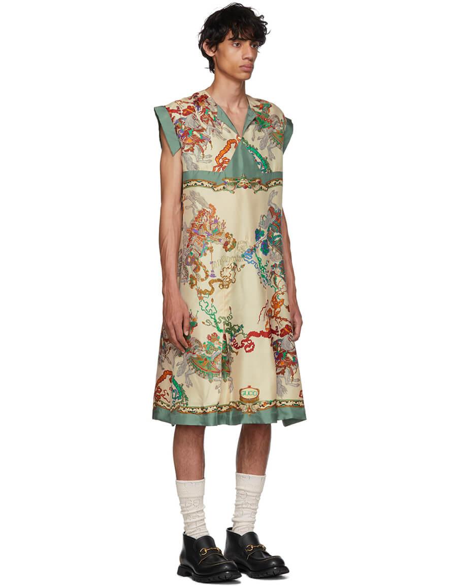 GUCCI Off White & Multicolor Roi Soleil Print Shirt