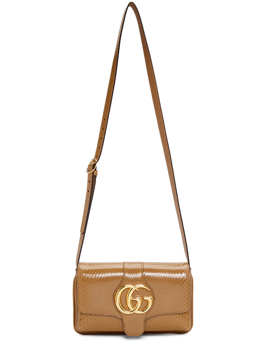 GUCCI Taupe Snake Small Arli Shoulder Bag