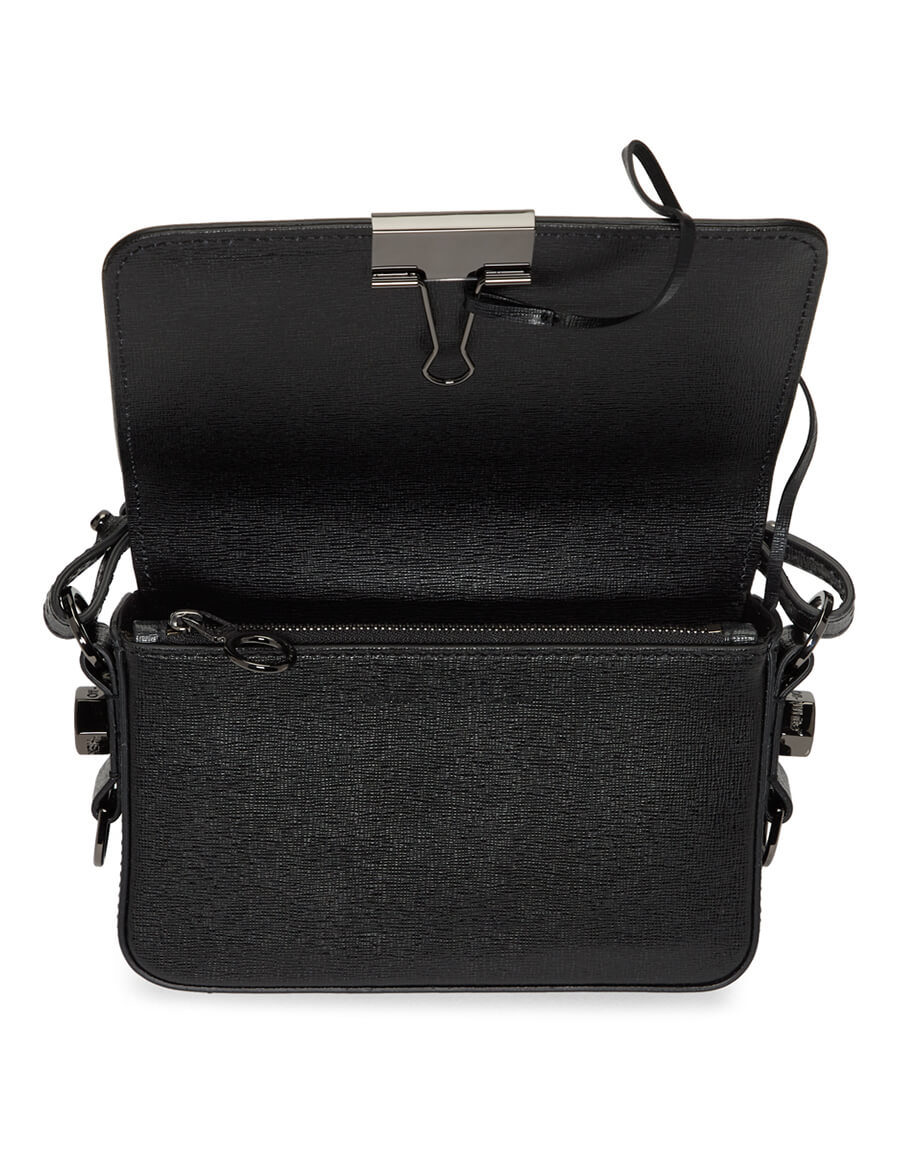 OFF WHITE Black Mini Diag Flap Bag