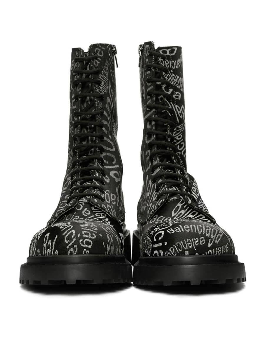 BALENCIAGA Black Logo Wave Boots