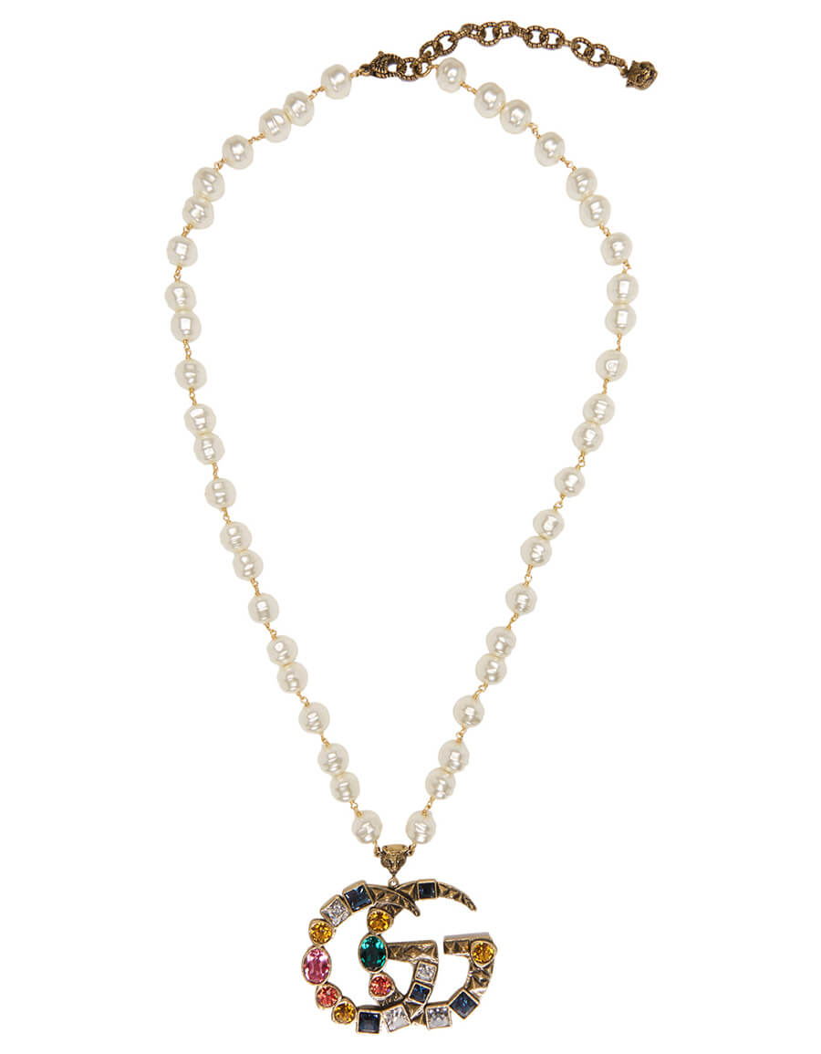 GUCCI Gold Crystal & Pearl Pendant Necklace