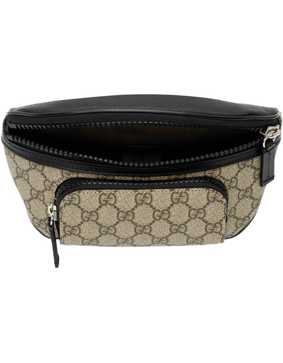 GUCCI Beige & Black GG Supreme Belt Bag