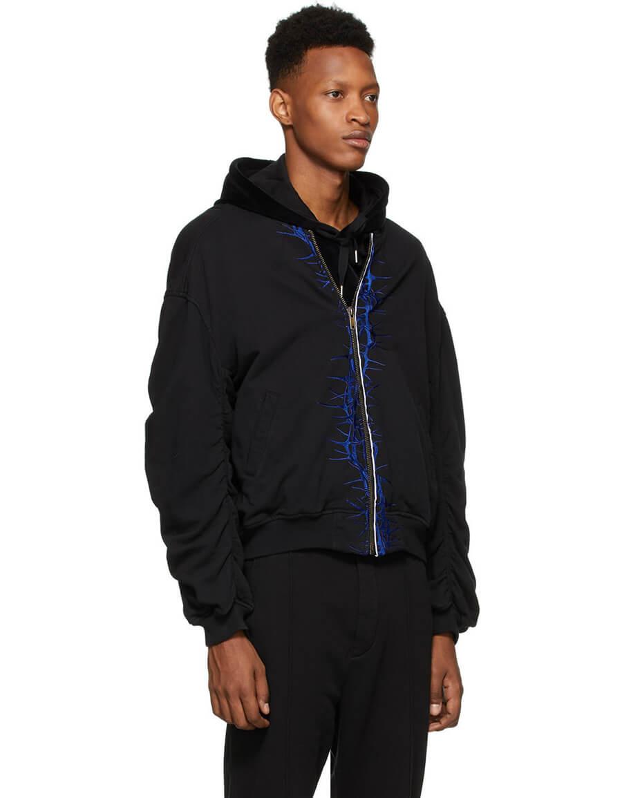 HAIDER ACKERMANN SSENSE Exclusive Black & Blue Embroidered Bomber Jacket
