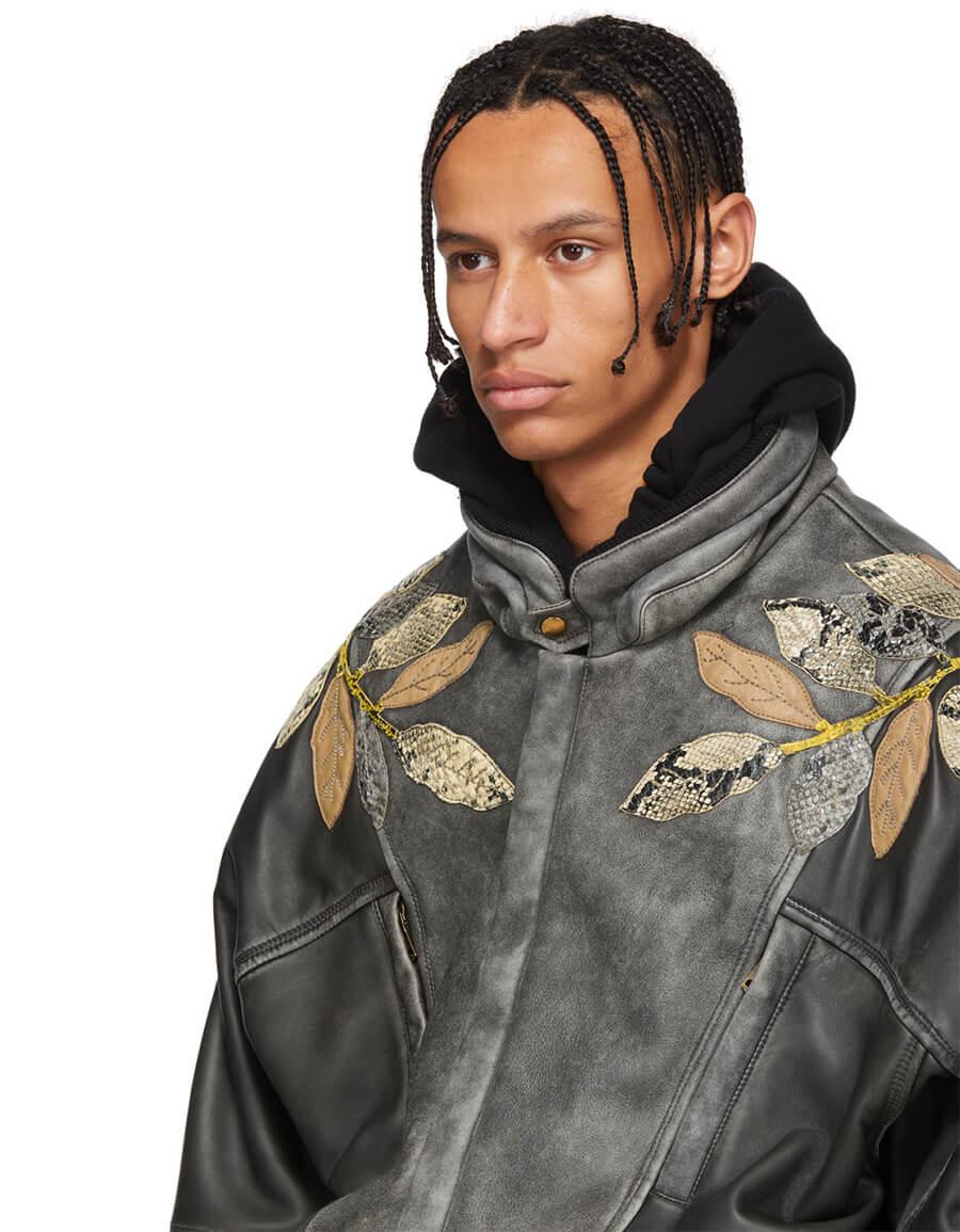 GUCCI Black Leather Appliqué Bomber Jacket