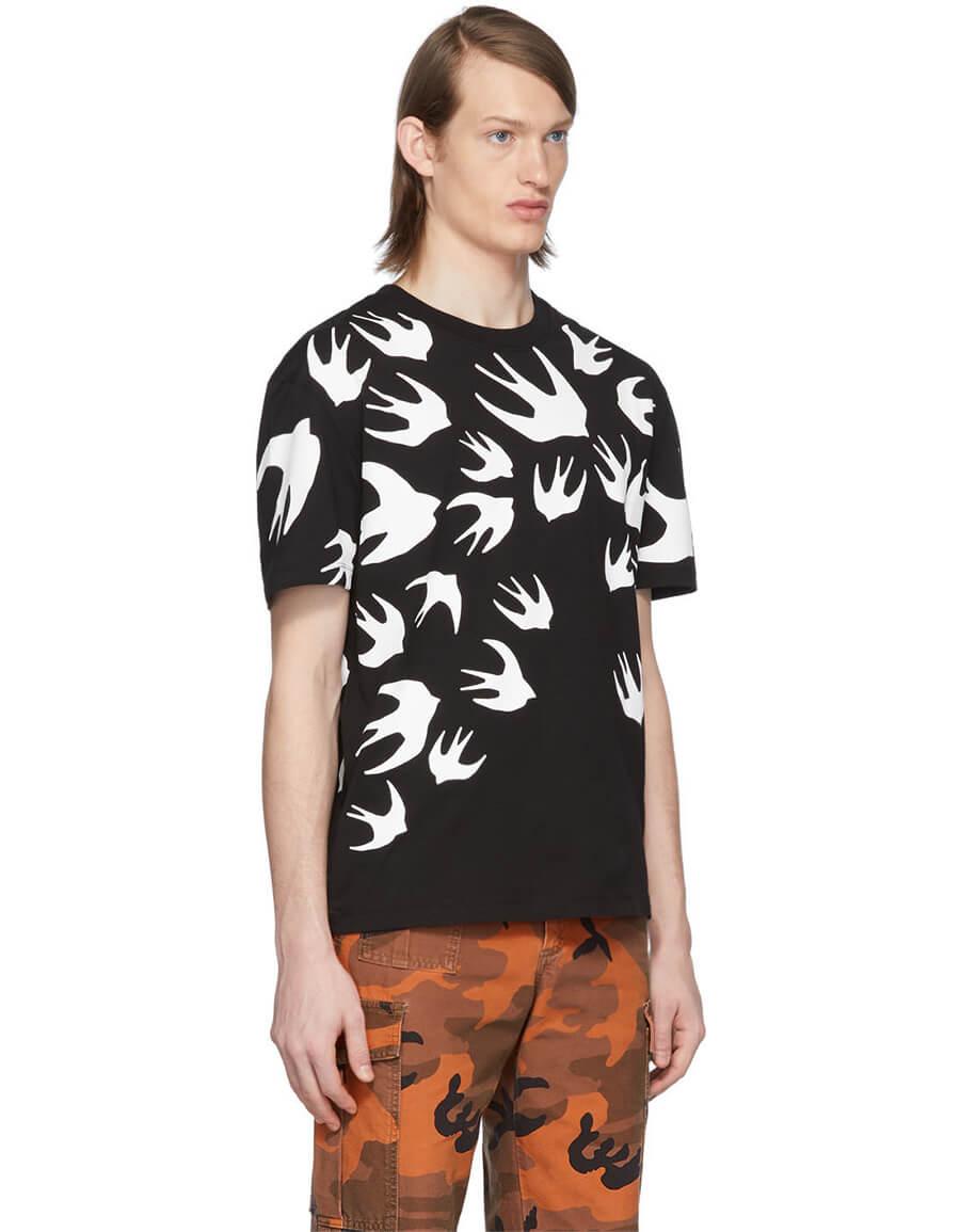 ALEXANDER MCQUEEN Black Swallow T Shirt