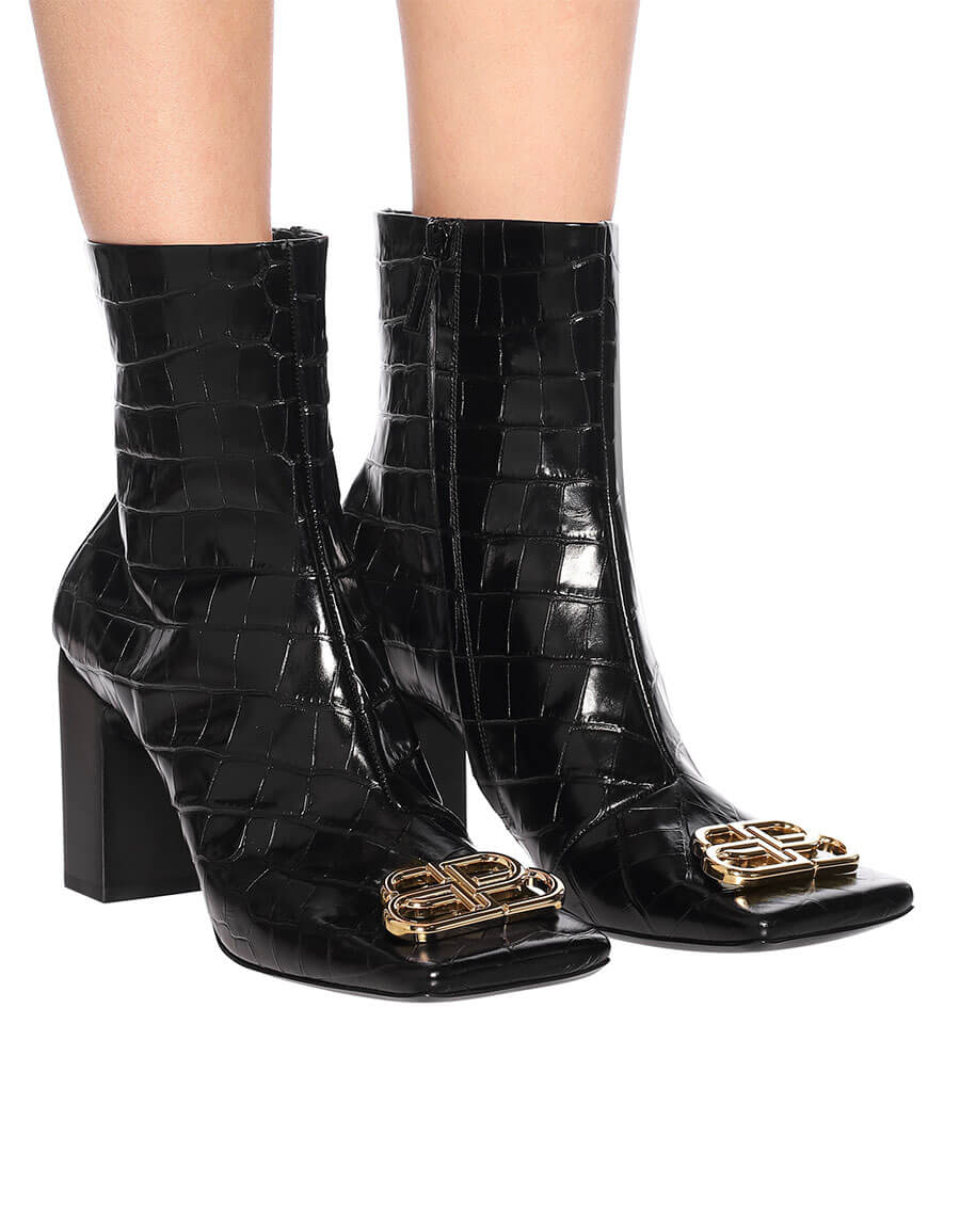 BALENCIAGA BB Double Square leather ankle boots