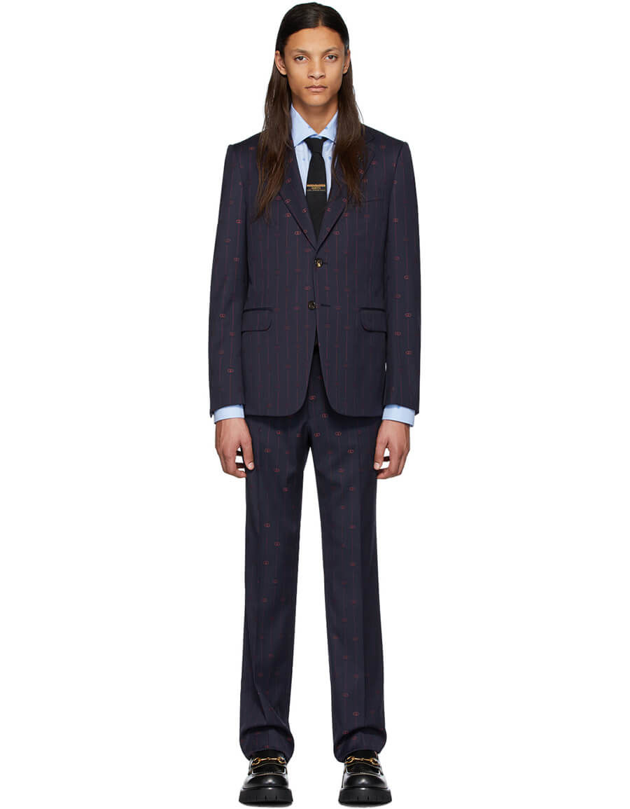 GUCCI Navy & Pink GG Pinstripe Suit