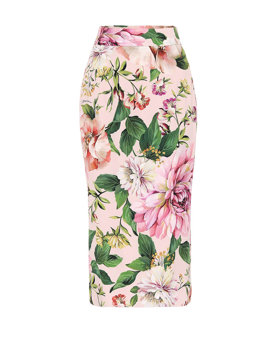DOLCE & GABBANA Floral stretch silk pencil skirt