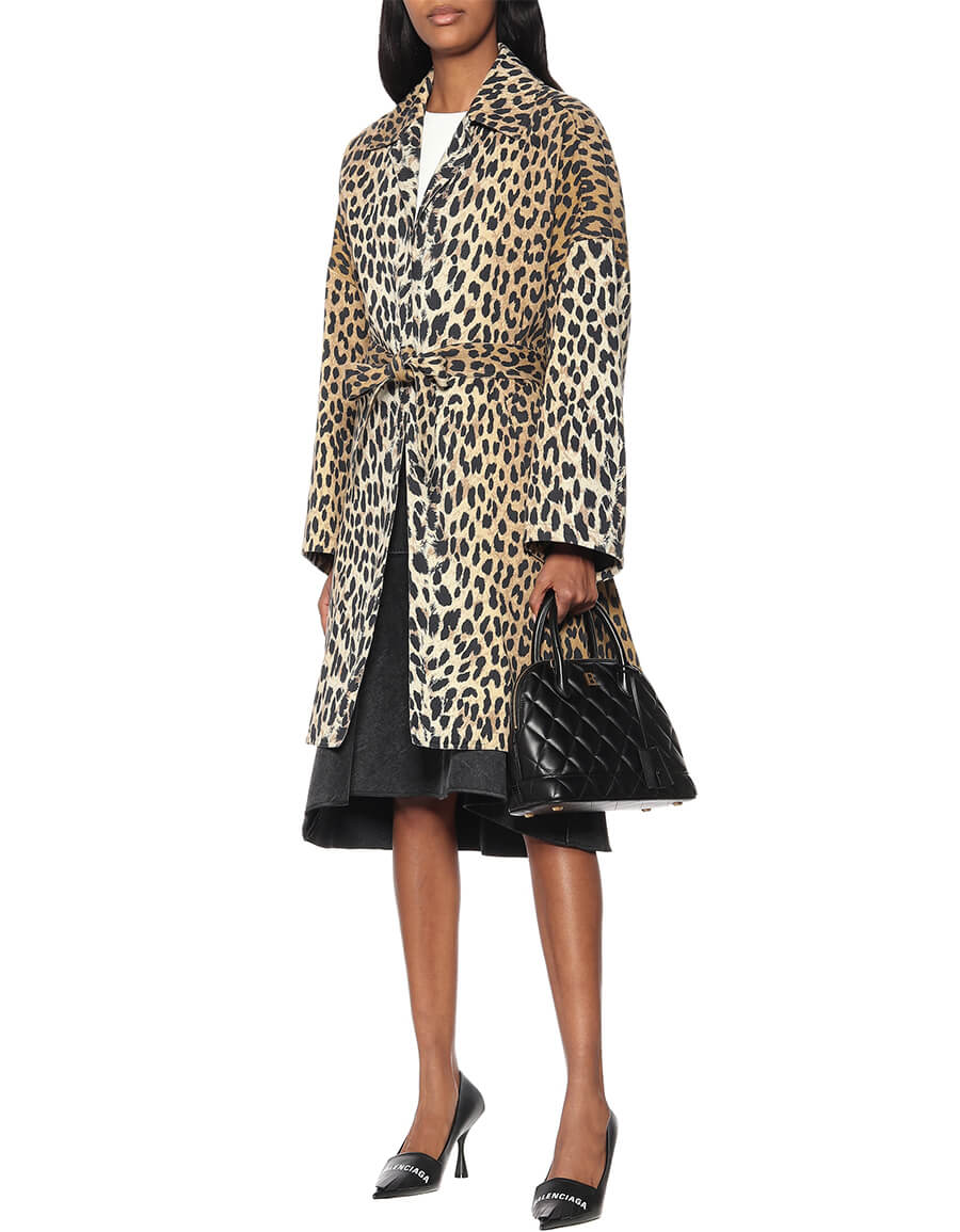 BALENCIAGA Leopard print cotton twill coat