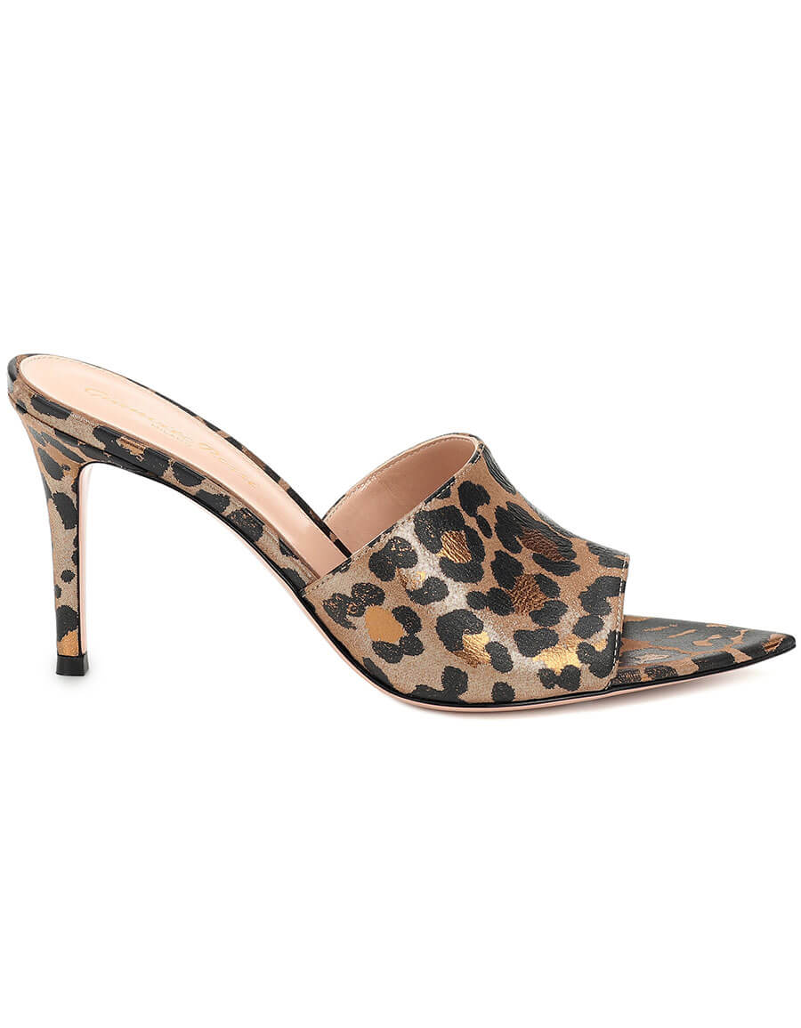 GIANVITO ROSSI Leopard print leather sandals