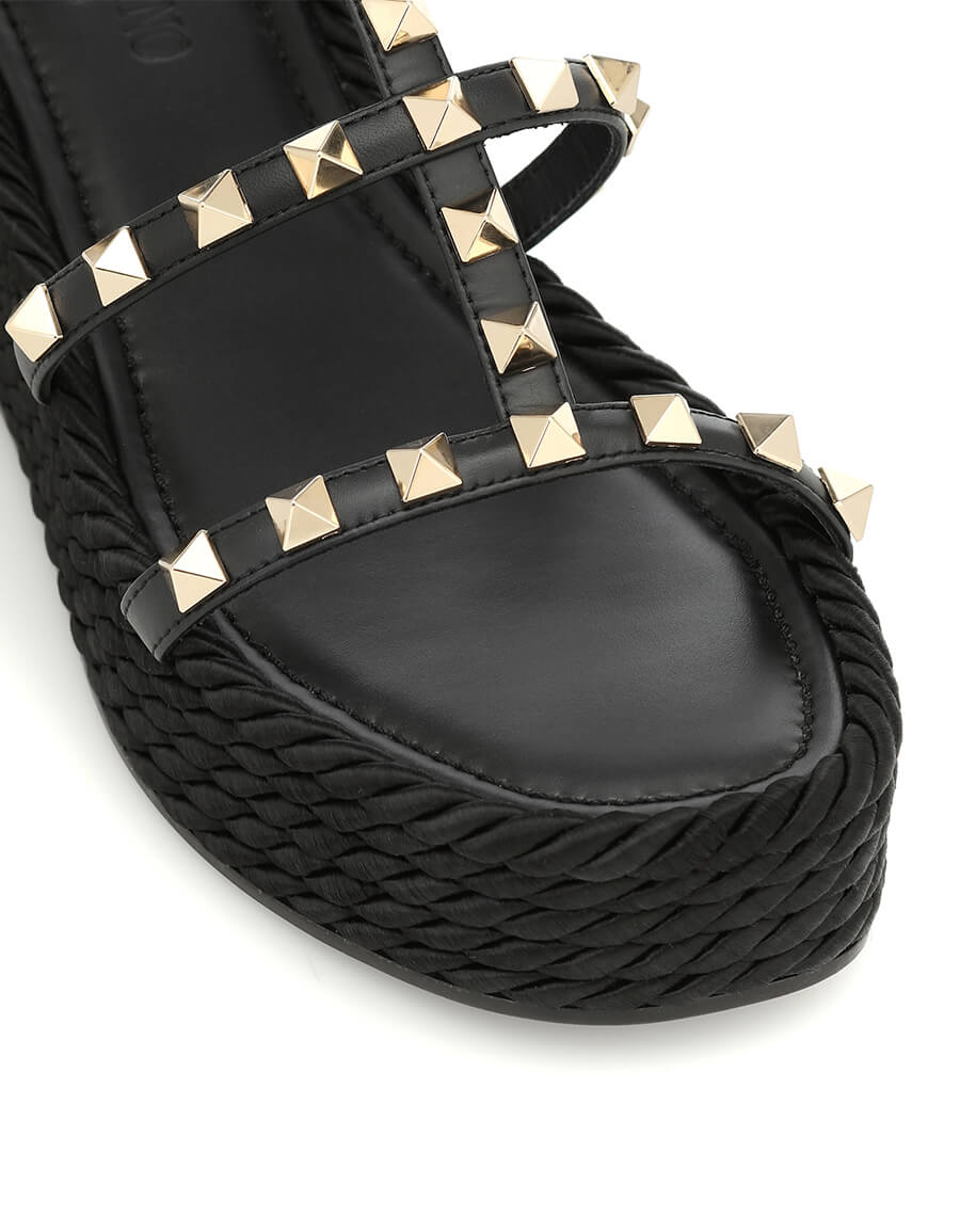 VALENTINO GARAVANI Valentino Garavani Rockstud Torchon leather wedge sandals
