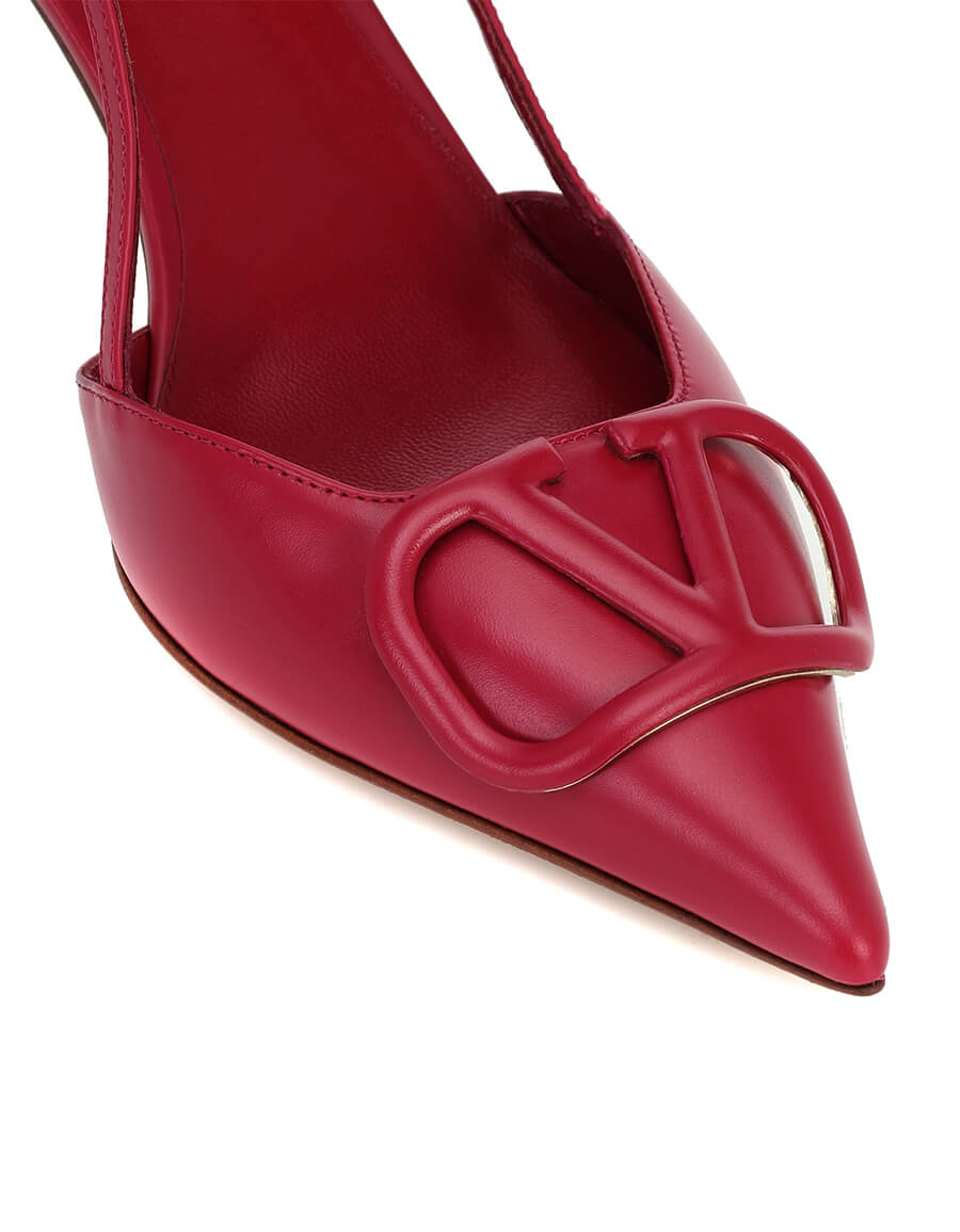 VALENTINO VLOGO leather slingback pumps