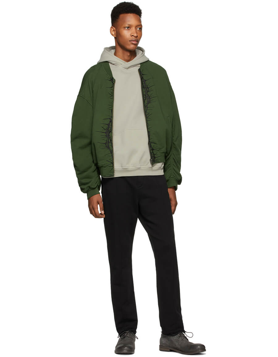 HAIDER ACKERMANN SSENSE Exclusive Khaki & Black Embroidered Bomber Jacket