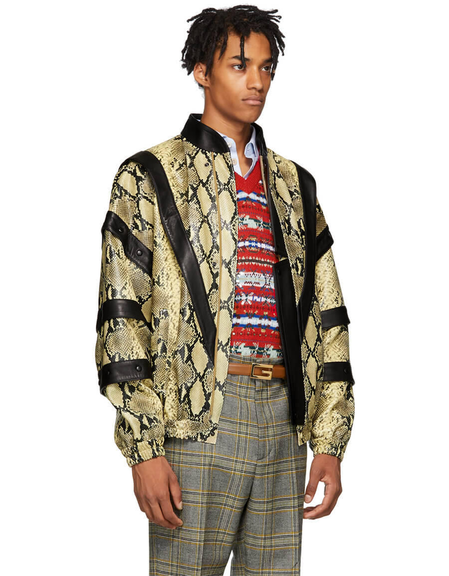 GUCCI Yellow & Black Faux Python Bomber Jacket