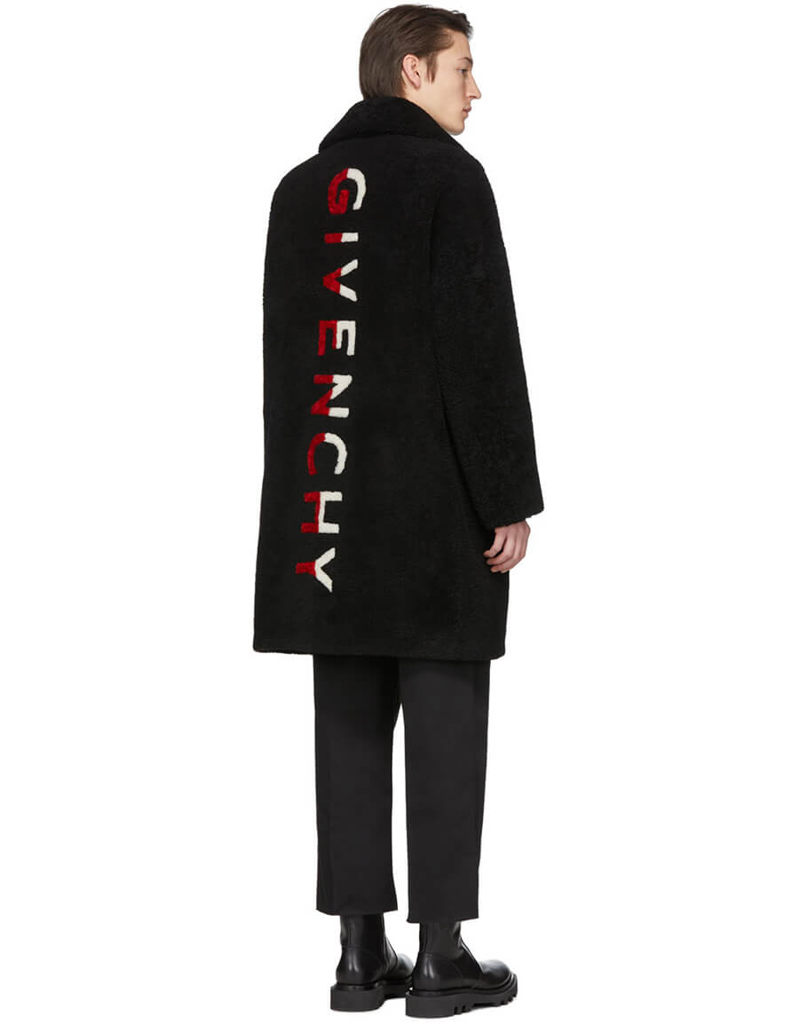 GIVENCHY Black Shearling Oversized Coat