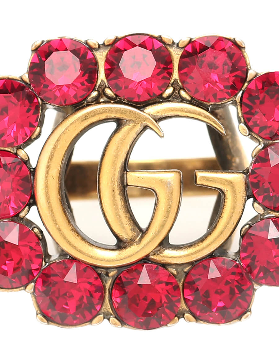 GUCCI Double G crystal embellished ring