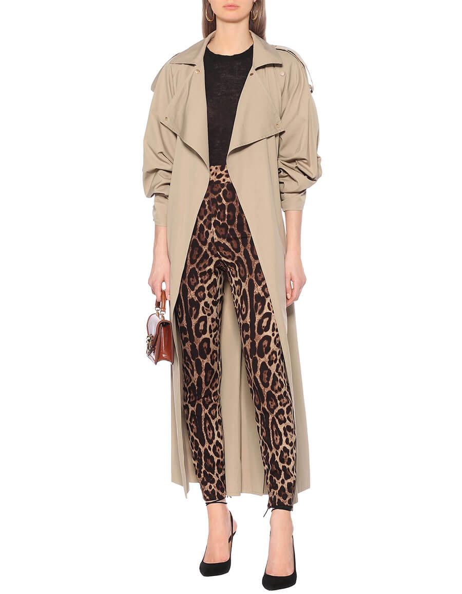 DOLCE & GABBANA Leopard print stretch silk leggings