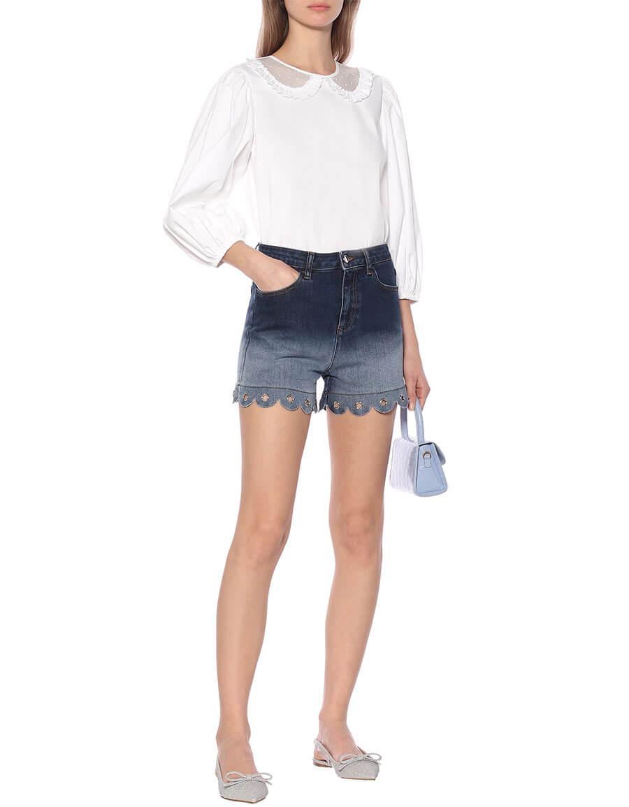REDVALENTINO High rise denim shorts