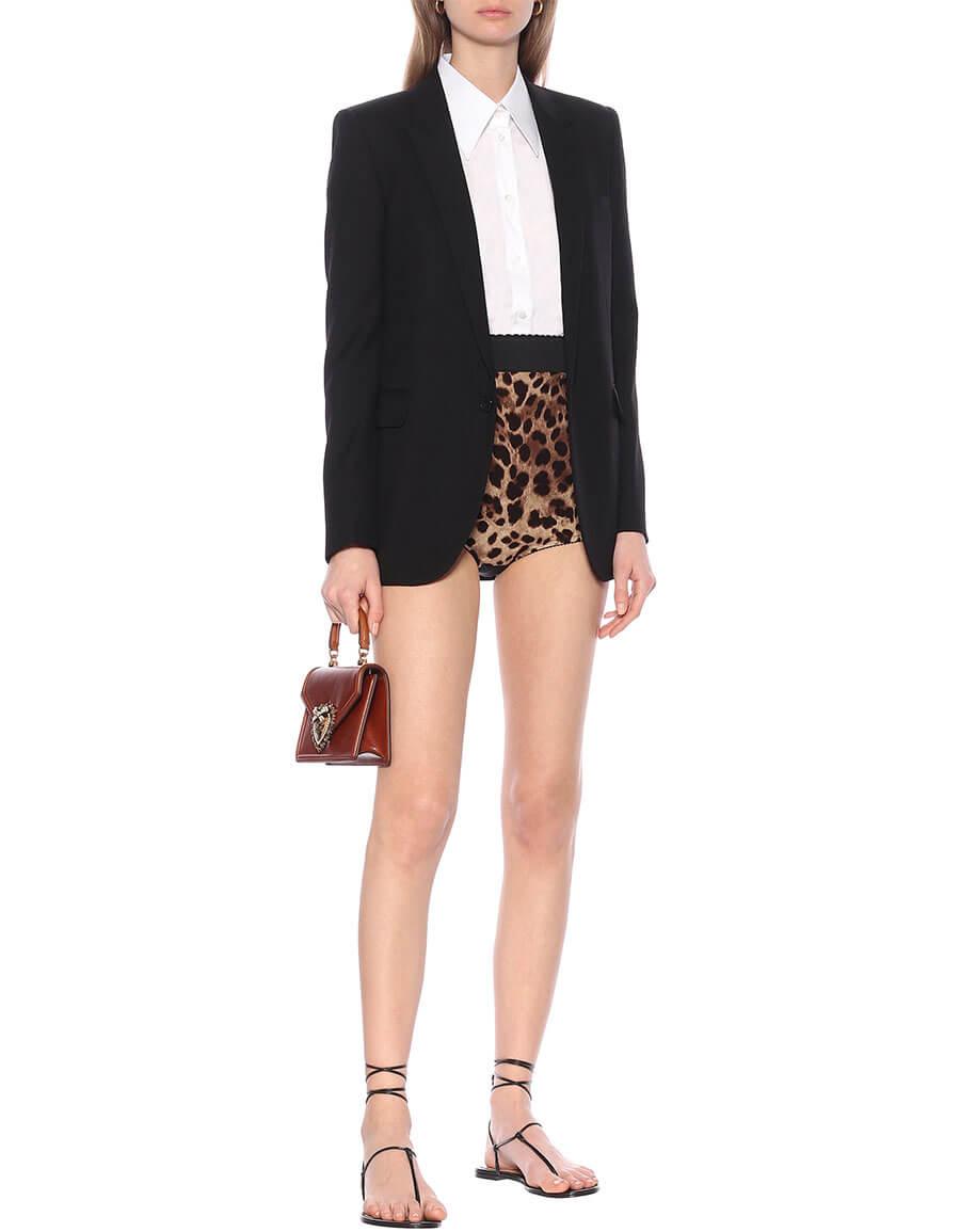 DOLCE & GABBANA Leopard print silk blend shorts