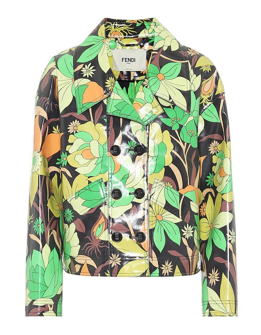 FENDI Floral coated cotton jacket