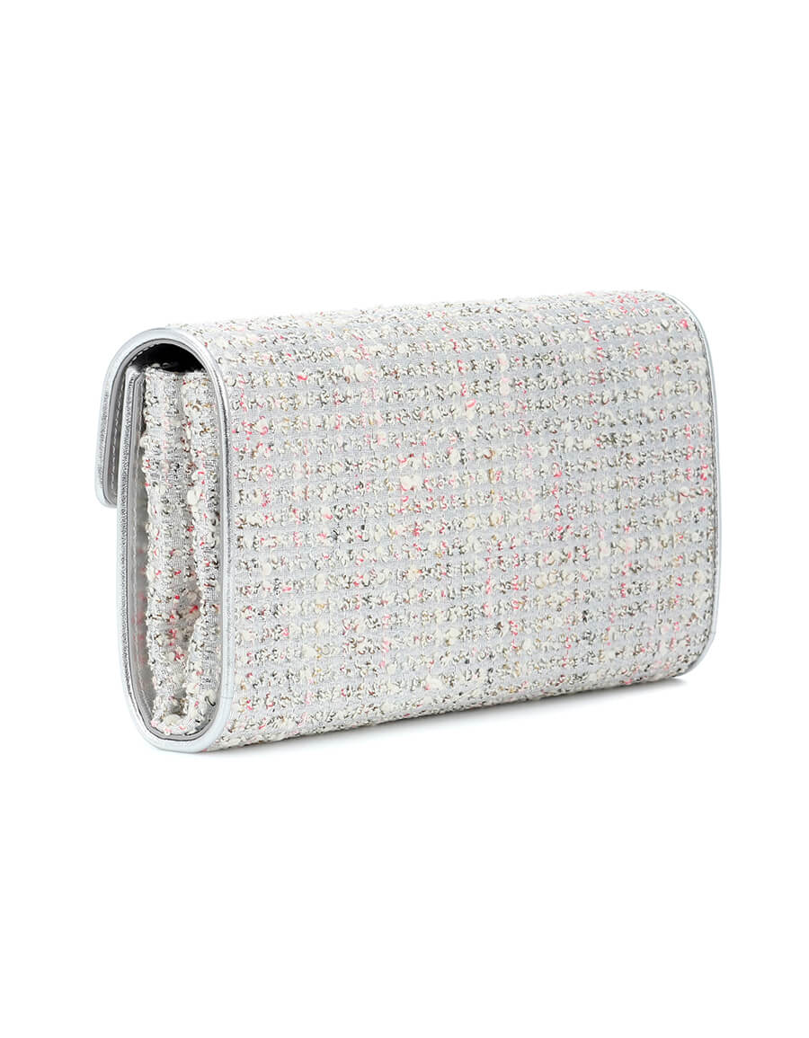 ROGER VIVIER Envelope Flower Buckle tweed clutch
