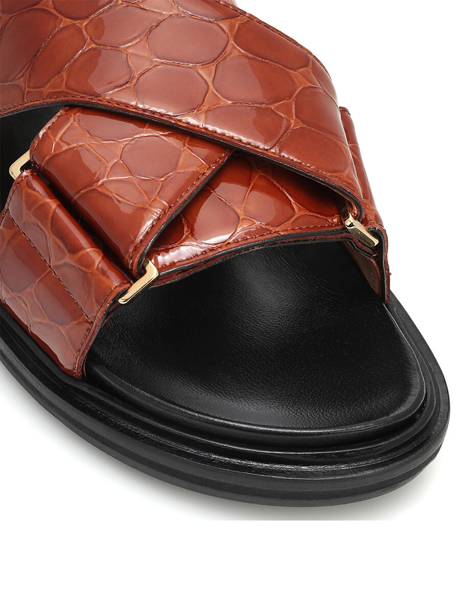 MARNI Croc effect leather sandals