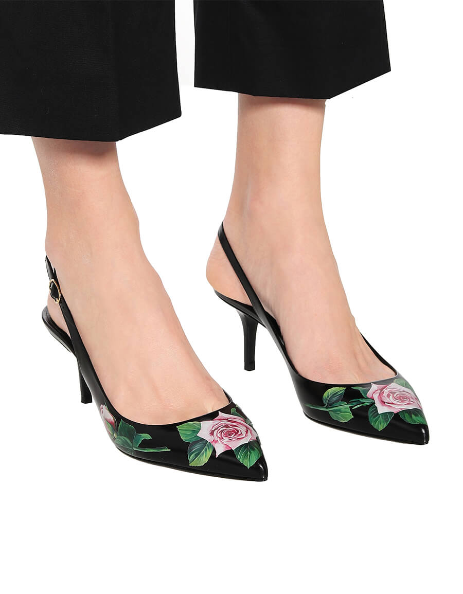 DOLCE & GABBANA Lori leather slingback pumps