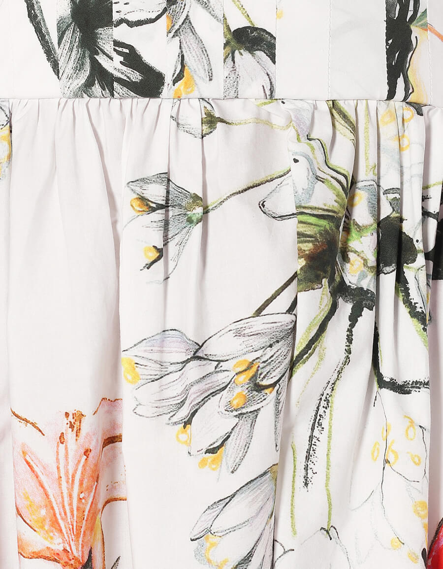 ALEXANDER MCQUEEN Floral cotton midi dress