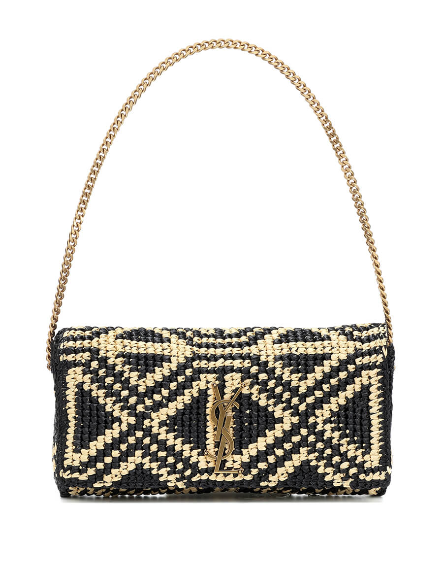 SAINT LAURENT Kate 99 raffia shoulder bag