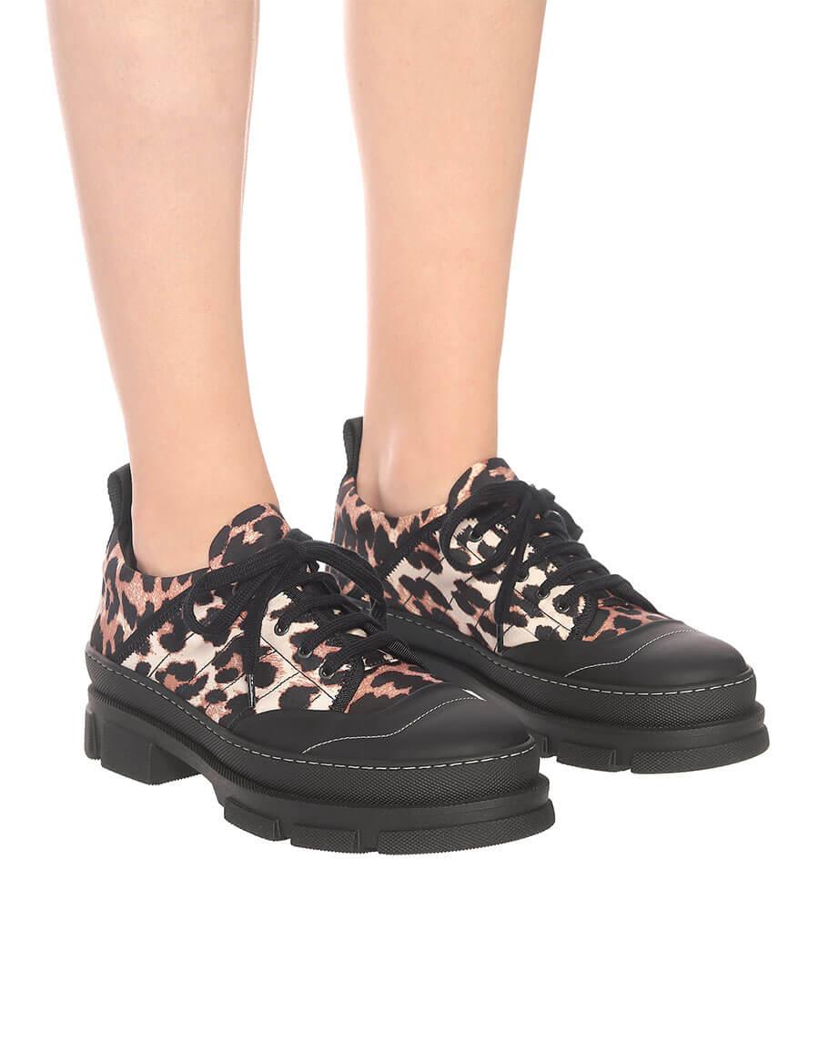 GANNI Leopard print nylon sneakers