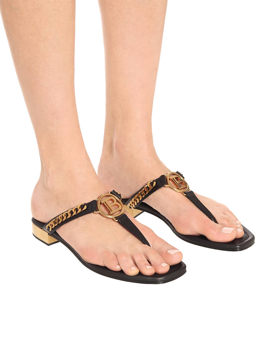 BALMAIN Embellished leather thong sandals