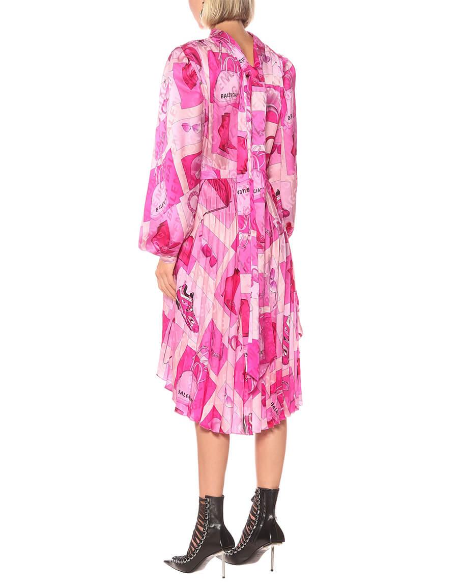 BALENCIAGA Twisted printed crêpe midi dress