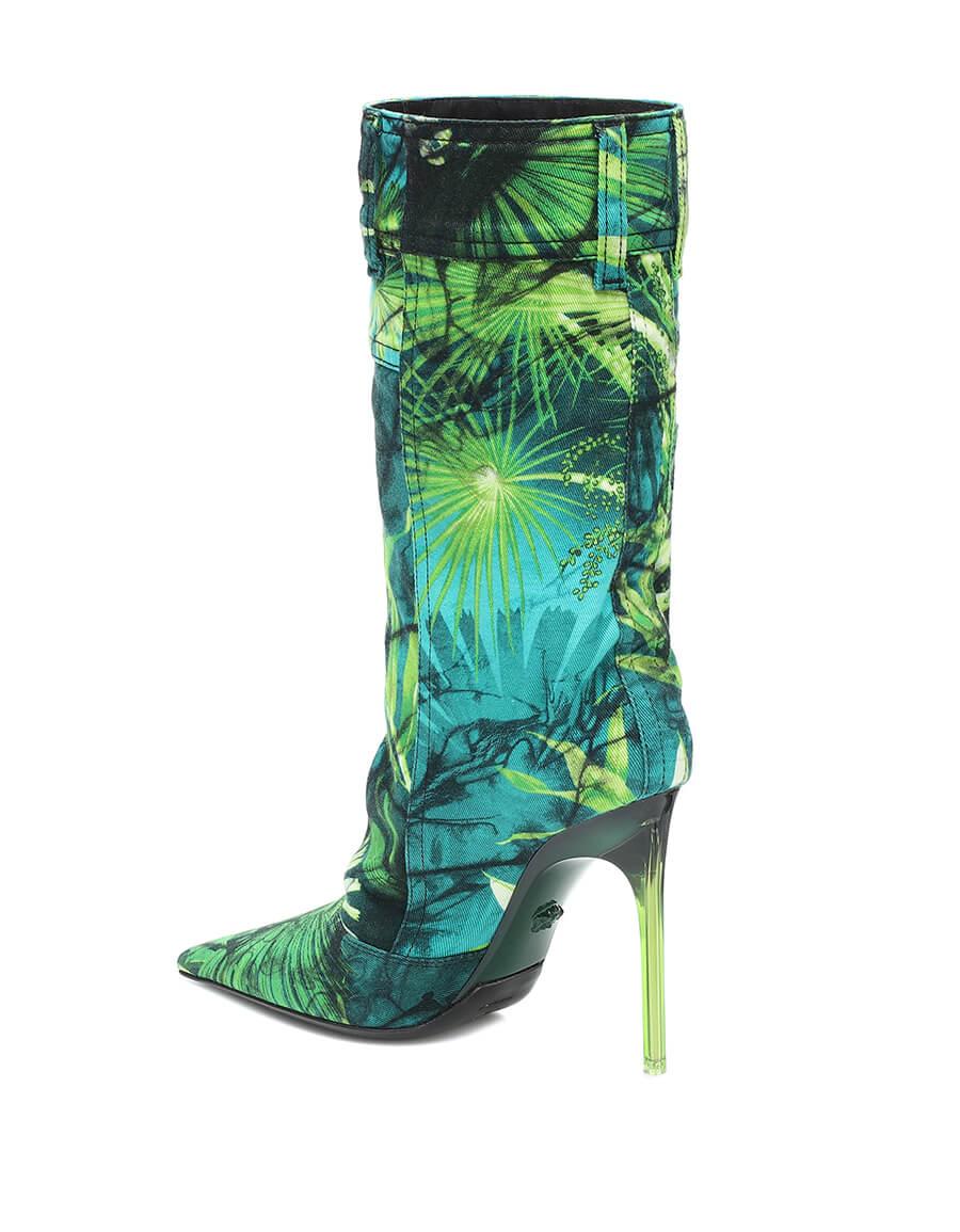 VERSACE Jungle print denim boots