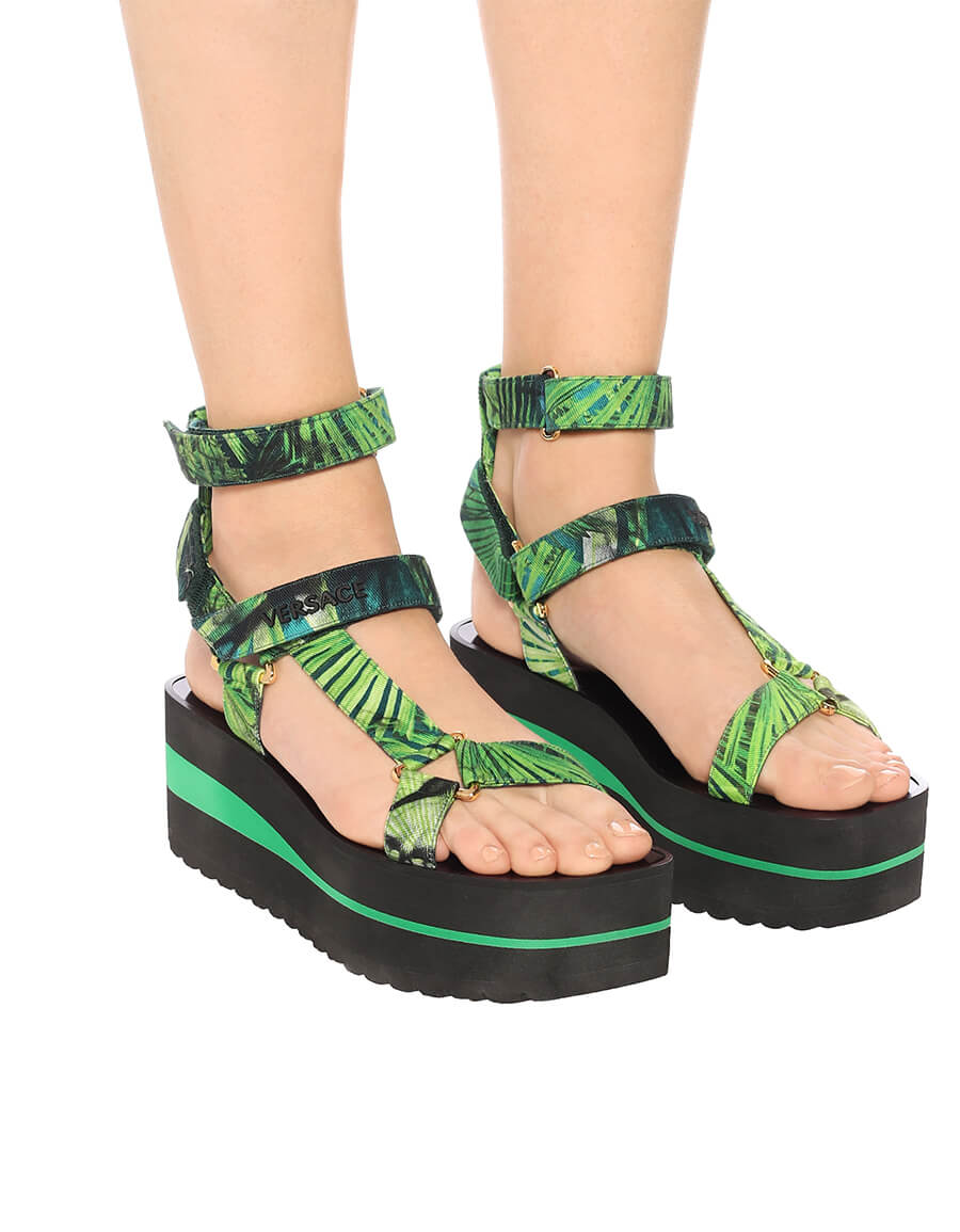 VERSACE Jungle print platform sandals