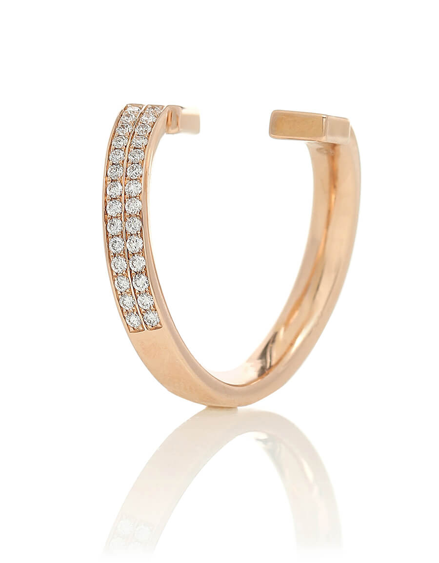 REPOSSI Serti Carrés Alternés 18kt gold and diamond ring