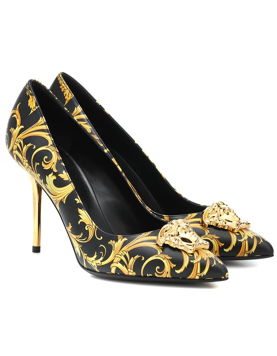 VERSACE Printed leather pumps