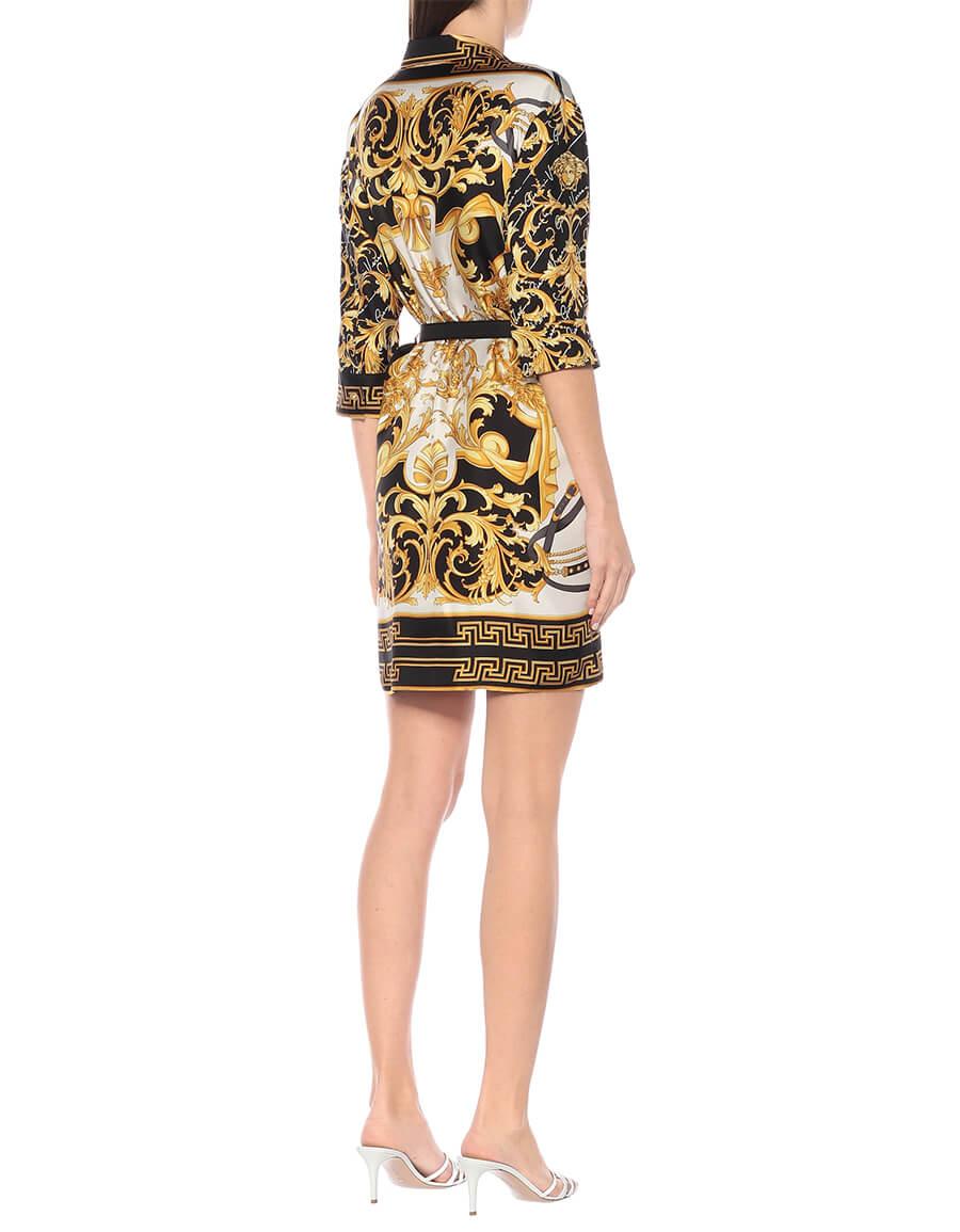 VERSACE Barocco silk twill shirt dress