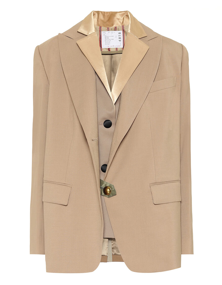 SACAI Layered wool blend blazer